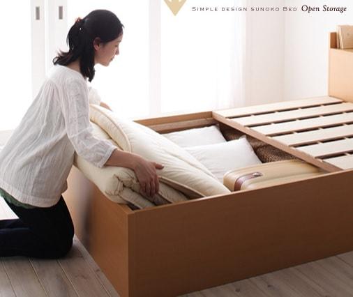 棚付き箱型ベッド『シンプルデザイン大容量収納庫付きすのこ&収納ベッド【Open Storage】オープンストレージ』