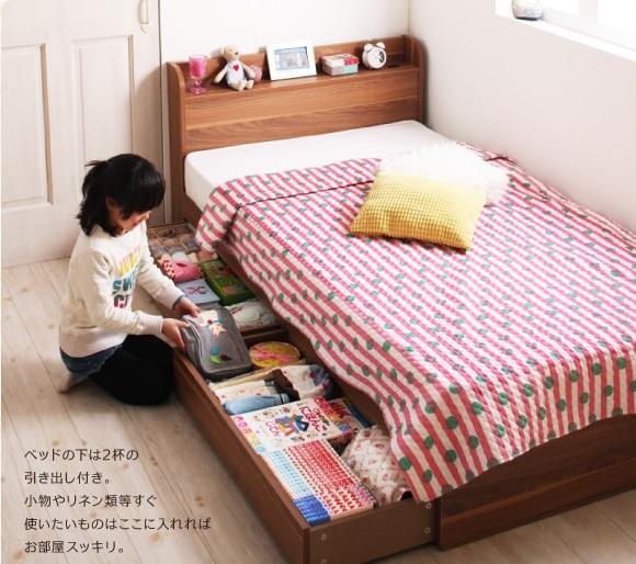 収納ベッドシングル通販『ショート丈 棚・コンセント付き収納ベッド【Paola】パオラ』