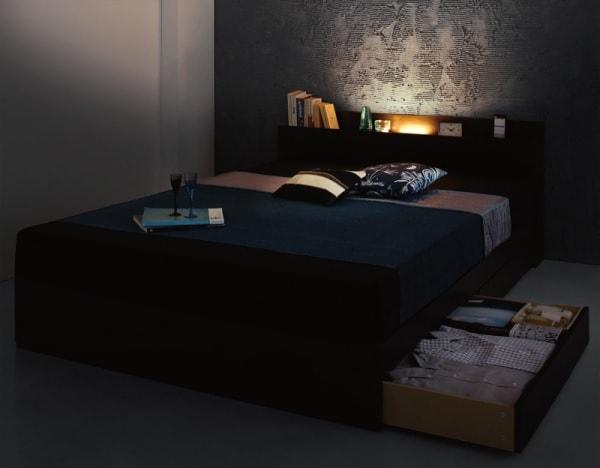 収納ベッドシングル通販 インダストリアル収納ベッド『モダンライト・コンセント付き収納ベッド 【Pesante】 ペザンテ』