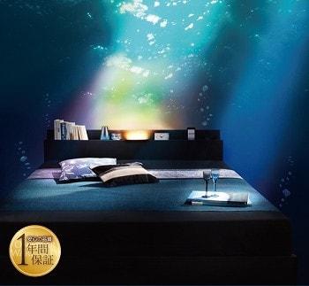 ラグジュアリーな収納ベッド『モダンライト・コンセント付き収納ベッド 【Pesante】 ペザンテ』