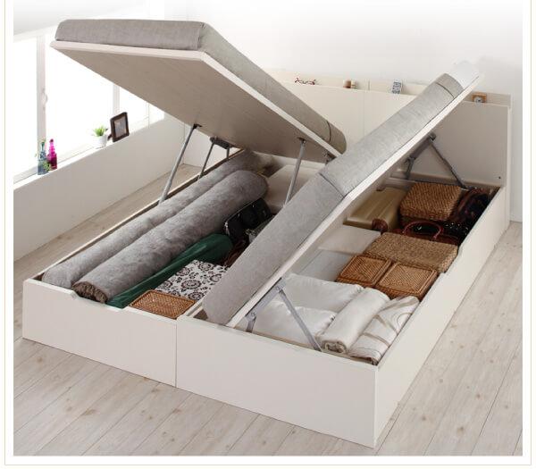 収納ベッド通販 縦横開きが選べるガス圧跳ね上げ式収納ベッド『国産跳ね上げ収納ベッド【Pratipue】プラティーク』