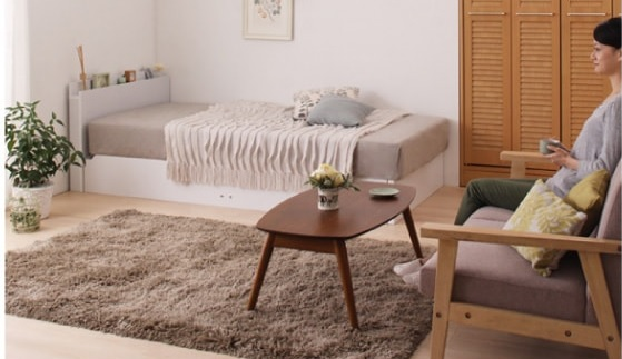 収納ベッドシングル通販 姫系の白い収納ベッド『ガス圧式跳ね上げ収納ベッド【Primum】プリーム』