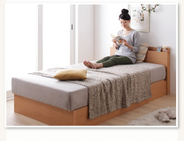 収納ベッドシングル通販 ナチュラルカラーの収納ベッド『ガス圧式跳ね上げ収納ベッド【Primum】プリーム』