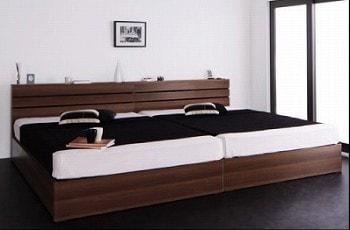 収納ベッドシングル通販 シングルベッド2台並べて1台のキングサイズベッドにする提案『【procyon】プロキオン モダンライト・コンセント付き収納ベッド』