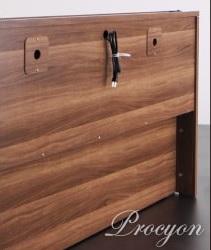 収納ベッドシングル通販 ウォールナット柄 背面化粧の収納ベッド『モダンライト・コンセント付き収納ベッド【Procyon】プロキオン』