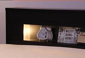 棚の両側から仄かに照らすモダンライト付きの収納ベッド『宮、照明付きチェストベッド【ROSEN】ローズン』