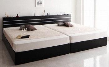 収納ベッドシングル通販 シングルベッド2台並べて1台のキングサイズベッドにする提案『【RYUSEI】リュウセイ モダンライト・コンセント付き収納ベッド』