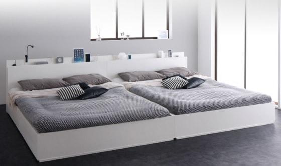 収納ベッドシングル通販 シングルを2台並べてキングサイズにできる収納ベッド『スリム棚・多コンセント付き・収納ベッド【Reallt】リアルト』