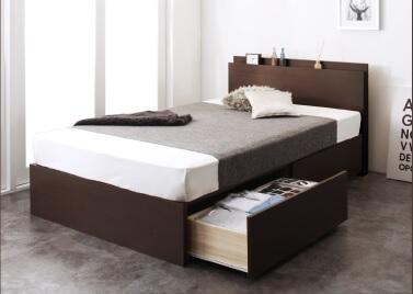 収納ベッドシングル通販『長く使える棚・コンセント付国産頑丈2杯収納ベッド【Rhino】ライノ』ダークブラウン