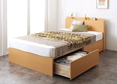 収納ベッドシングル通販『長く使える棚・コンセント付国産頑丈2杯収納ベッド【Rhino】ライノ』ナチュラル