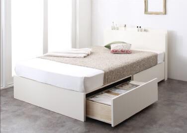 収納ベッドシングル通販『長く使える棚・コンセント付国産頑丈2杯収納ベッド【Rhino】ライノ』ホワイト