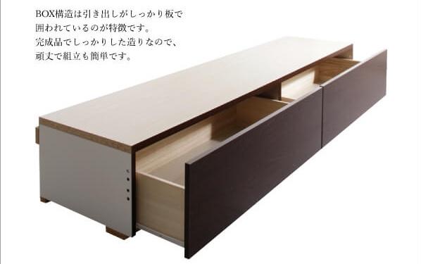 収納ベッドシングル通販 BOX構造ホコリ対策済み引出し付き収納ベッド『長く使える棚・コンセント付国産頑丈2杯収納ベッド【Rhino】ライノ』