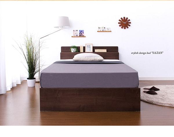 収納ベッド通販 北欧風1段チェスト収納ベッド『スマホ充電可能 宮、照明、チェストベッド【SASAN】サザン』