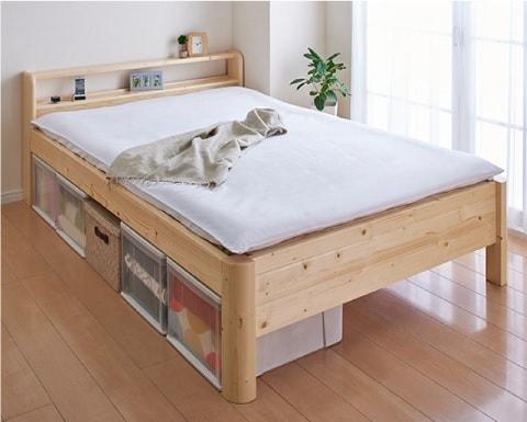 収納ベッドシングル通販 ナチュラルカラーの収納ベッド『棚・コンセントつき頑丈すのこベッド【SFORZA】スフォルツァ』