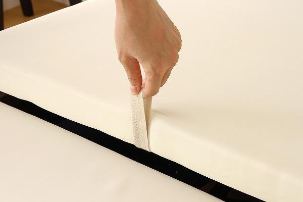 薄型折り畳みマットレスのセットがある2段チェスト収納ベッド『国産 宮付き 大容量 収納ベッド【SPACIA】スペーシア』フリースペースエリアの取っ手