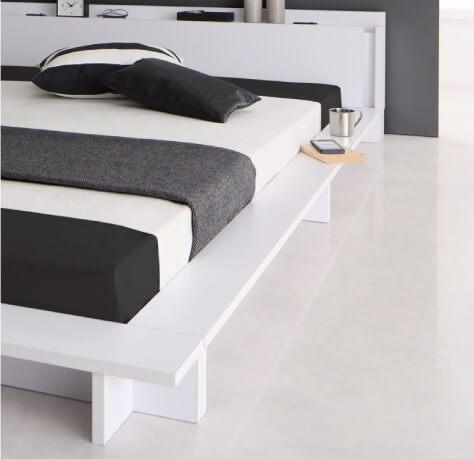 ベッドの頭が壁にピッタリつくフロアベッド『モダンライト・棚・コンセント付きデザインフロアローベッド【SPERANZA】スペランツァ』