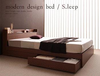 収納ベッドシングル通販 ベッド高が比較的低い収納ベッド『棚・コンセント付きモダンスタイル収納ベッド【S.leep】エス・リープ』