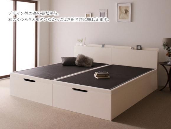 収納ベッドシングル通販 白いベッド『美草・日本製_大容量畳跳ね上げベッド_【Sagesse】サジェス』