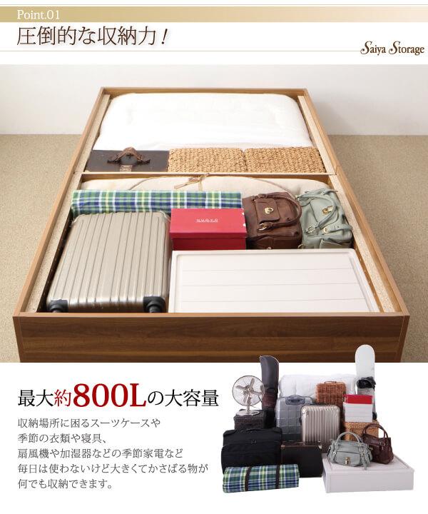 密閉された収納空間と、リーズナブルな価格のバランスが魅力の箱型大容量収納ベッド『大容量収納庫付きベッド【SaiyaStorage】サイヤストレージ』