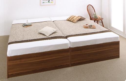 箱型ベッド『大容量収納庫付きベッド【SaiyaStorage】サイヤストレージ』を2台並べて使う