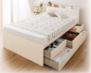 BOX構造チェストタイプ収納ベッド(床板全面がすのこ)『日本製_棚・コンセント付き大容量すのこチェストベッド【Salvato】サルバト』