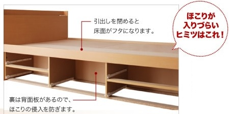 BOX構造引出のすのこチェスト収納ベッド