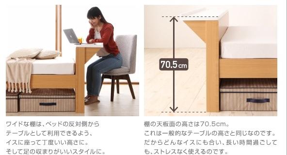 パソコンが置けるワイド棚・コンセント付きベッド【Saturno】サトゥルノ