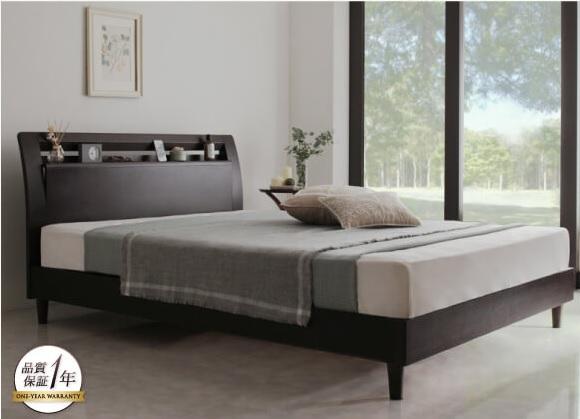 ナチュラルコーディネートにおススメの天然木突板ベッド『棚・コンセント付き高級素材デザインレッグベッド【Sorgente】ソルジェンテ』