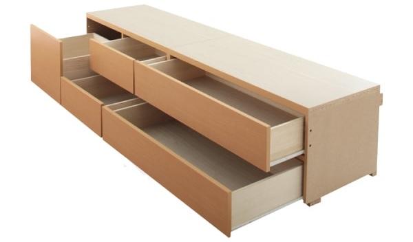 BOX構造2段チェスト大容量収納ベッド『日本製_棚・コンセント付き_大容量チェストベッド【Spatium】スパシアン 』