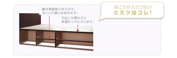 丈夫なBOX構造2段チェスト大容量収納ベッド『日本製_棚・コンセント付き_大容量チェストベッド【Spatium】スパシアン』