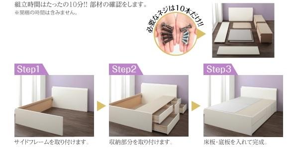 組立が簡単なBOX構造2段チェスト大容量収納ベッド『日本製_棚・コンセント付き_大容量チェストベッド【Spatium】スパシアン』