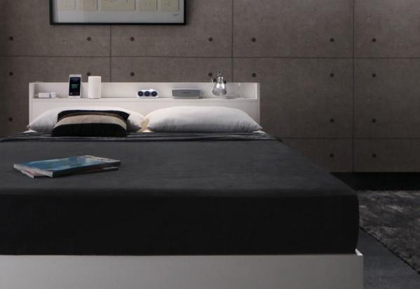 収納ベッドシングル通販 インダストリアル風収納ベッド『スリム棚・多コンセント付き・収納ベッド【Splend】スプレンド』