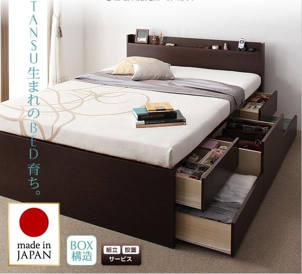 収納ベッドシングル通販 BOX構造収納ベッド『コンセント付きチェストベッド【Steady】ステディ』