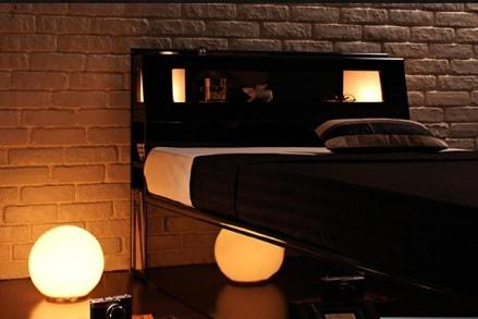 収納ベッドシングル通販 黒いベッド『【Stern】シュテルン モダンライト付き・ガス圧式跳ね上げ鏡面仕上げ収納ベッド 』