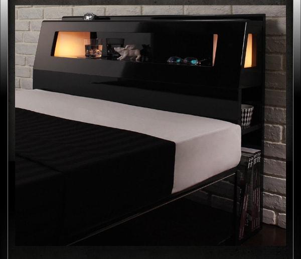 収納ベッドシングル通販 モダンライト収納ベッド『【Stern】シュテルン モダンライト付き・ガス圧式跳ね上げ鏡面仕上げ収納ベッド 』