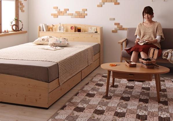 カントリーデザインのコンセント付き収納ベッド シングル【Sweet home】スイートホーム