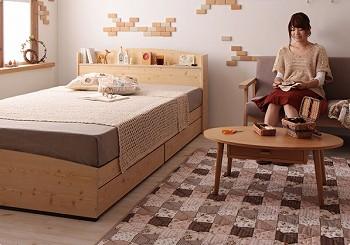 カントリーデザインのコンセント付き収納ベッド シングル 【Sweet home】スイートホーム