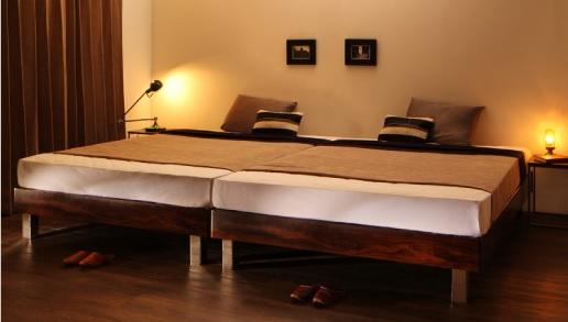 頑丈なベッドを2台並べる『頑丈デザインすのこステーションボトムベッド【Tough-BOTTOM】タフボトム』