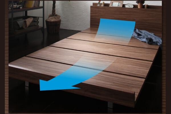 すのこローベッド『棚・コンセント付きモダンデザインローベッド【Tschues】チュース』