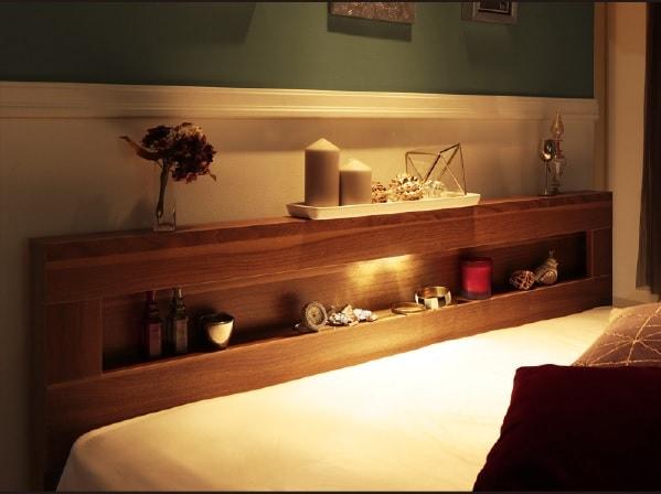 収納ベッドシングル通販 ラグジュアリーな収納ベッド『LEDライト・コンセント付き収納ベッド【Ultimus】ウルティムス』