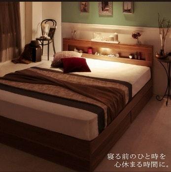 収納ベッドシングル通販 ウォルナット収納ベッド『LEDライト・コンセント付き収納ベッド【Ultimus】ウルティムス』