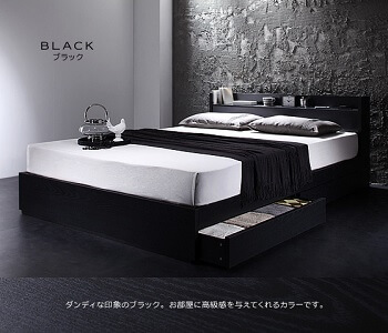 収納ベッド通販 ホワイトのフレームにブラックのマットレス『棚・コンセント付きモダンデザイン収納ベッド【VEGA】ヴェガ』