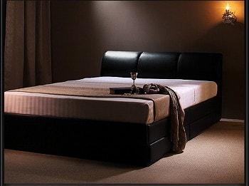 収納ベッドシングル通販 黒い収納ベッド『高級・レザー収納ベッド 【Vanzado】ヴァンザード』