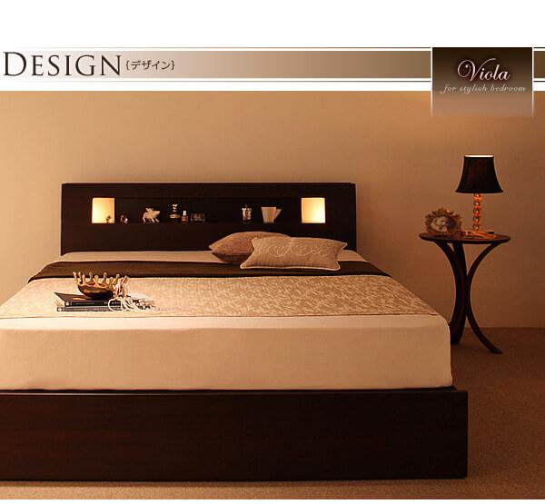 収納ベッドシングル 組み立てがカンタンな収納ベッド『組立約30分!【Viola】ヴィオラ モダンライト・コンセント収納付きベッド』