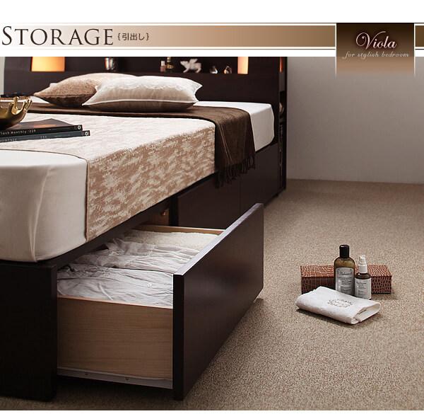 収納ベッドシングル通販 スライドレール付き引出し収納ベッド『モダンライト・コンセント収納ベッド(スライドレールチェスト) 【Viola】ヴィオラ 』