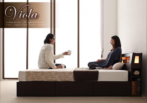 収納ベッドシングル通販 デュラテクのマットレスのセット『モダンライト・コンセント収納ベッド【Viola】ヴィオラ』