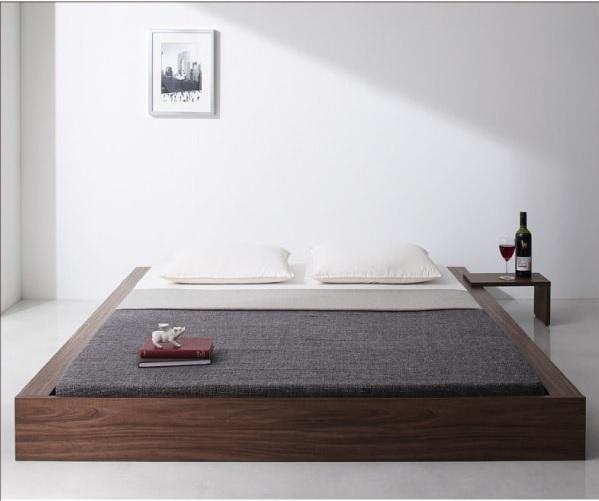 お茶の置けるミニテーブル付きベッド『スタイリッシュ・フロア・ヘッドレスベッド 【Vocator】ウォカトール』