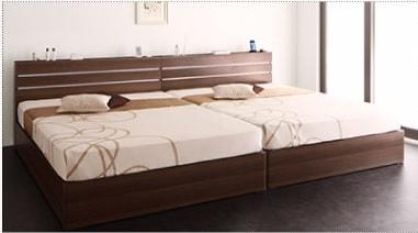 収納ベッドシングル通販 シングルベッド2台並べて1台のキングサイズベッドにする提案『【W.linea】ダブルリネア モダンライト・コンセント付き収納ベッド』