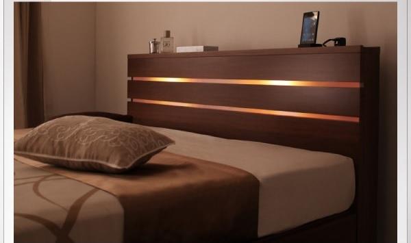 収納ベッドシングル通販 間接照明付き収納ベッド『モダンライト・コンセント付き収納ベッド【W.linea】ダブルリネア』