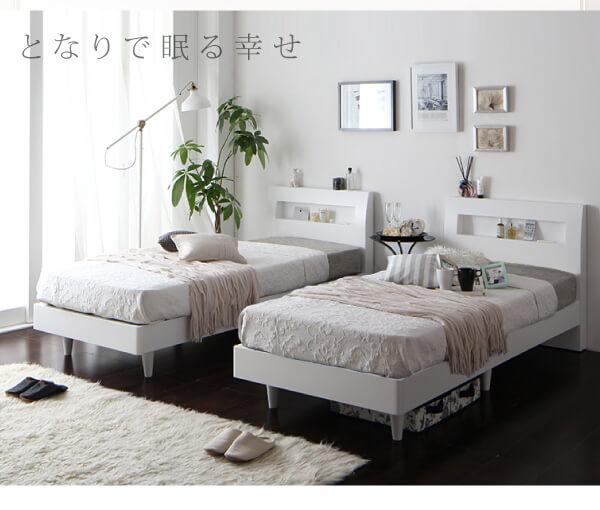 大きなレッグタイプのすのこベッド『棚・コンセント付きデザインすのこベッド 【Windermere】ウィンダミア』を2つに分割する